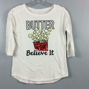 Justice Girls 'Butter Believe It' Sequin TShirt 12